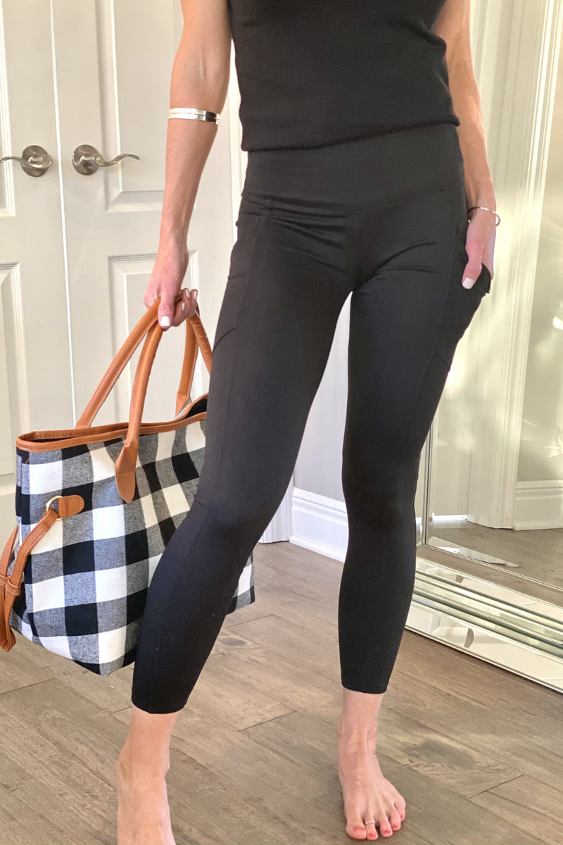 Move To The Beat Brushed Microfiber Leggings With Pockets : Black