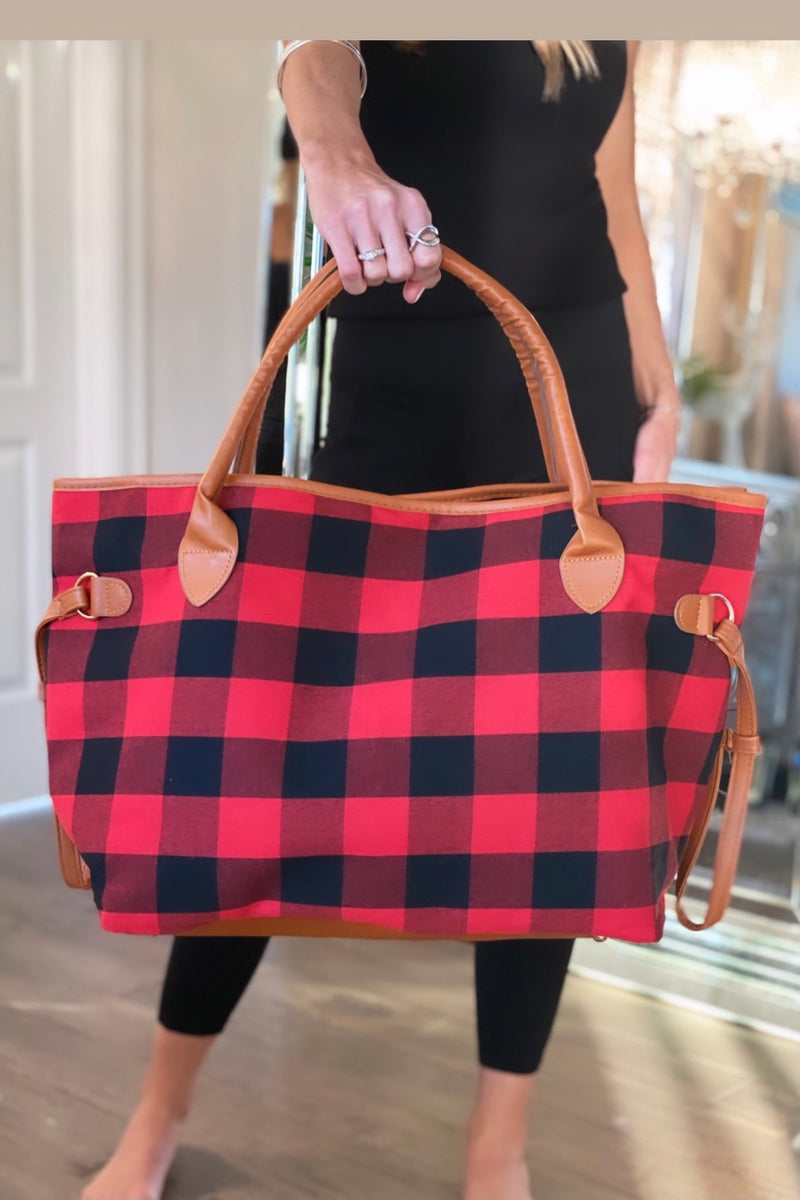Weekend Getaway Buffalo Plaid Tote Bag : Red/Black