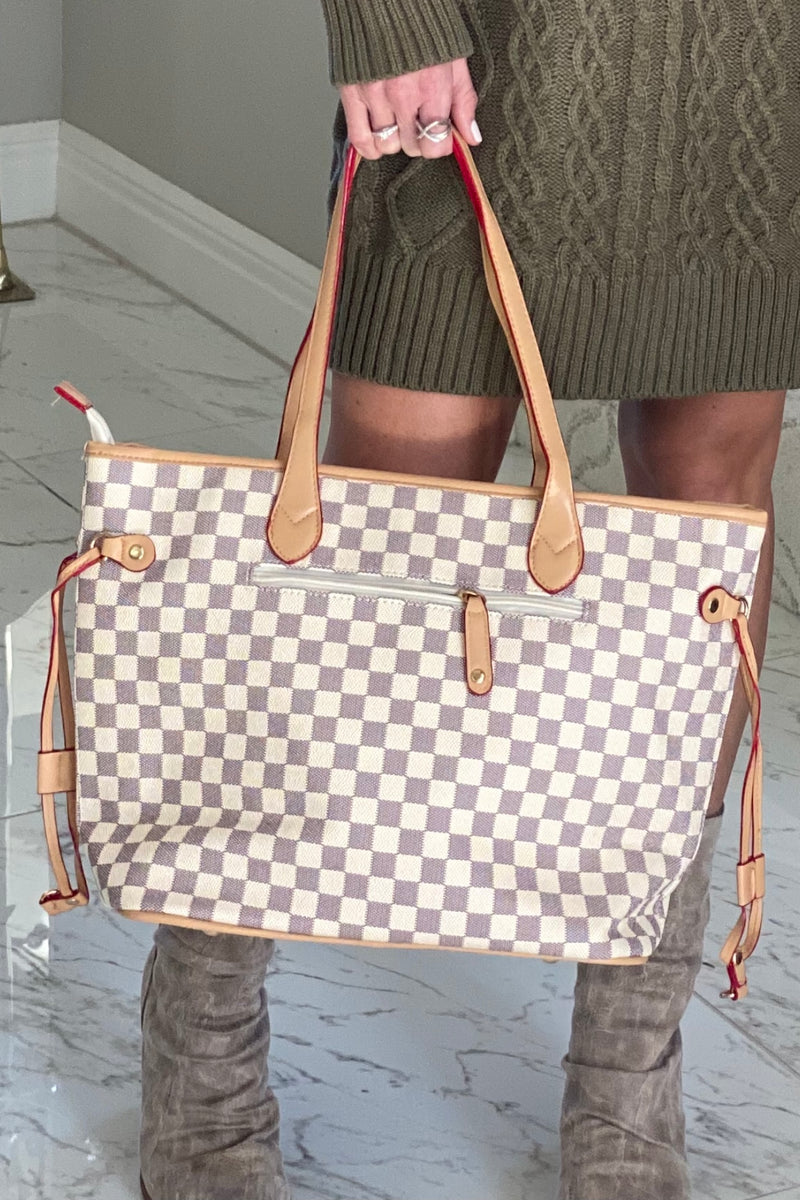 Always An Original Plaid Tote Bag & Wristlet : Ivory