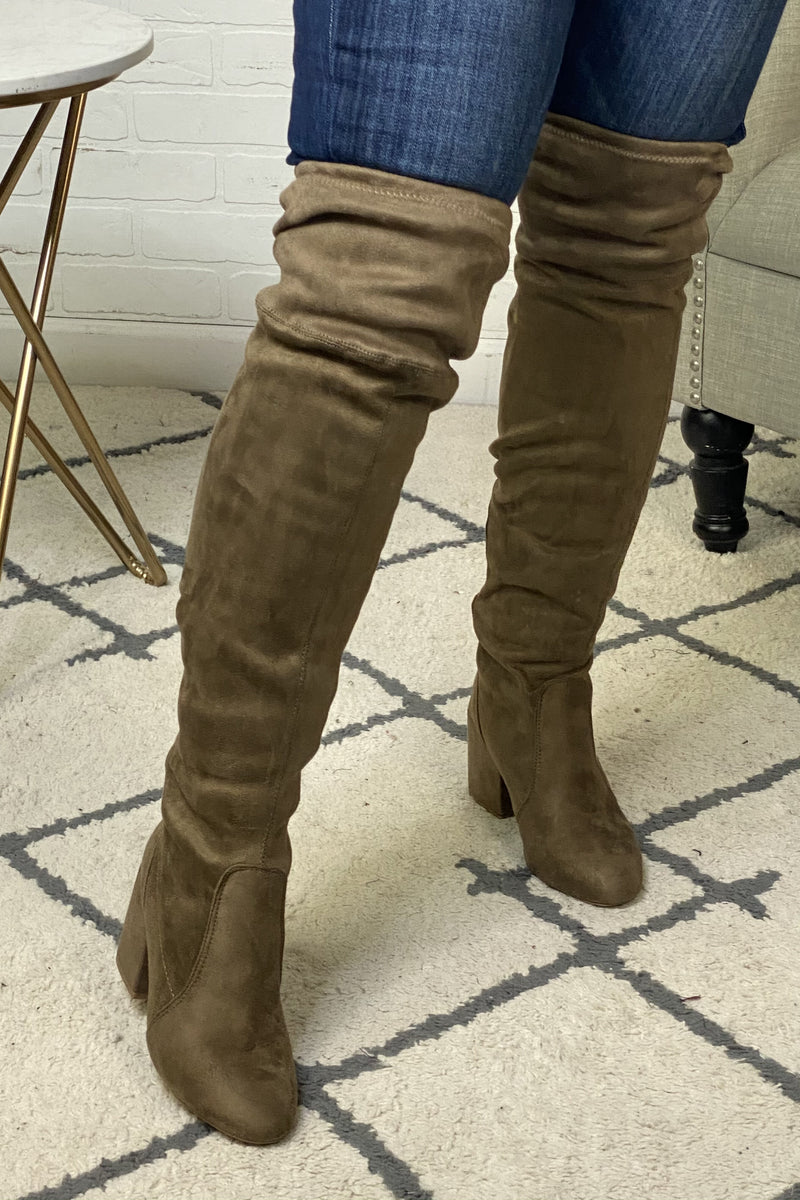 Dance the Night Away Over the Knee Boots : Taupe