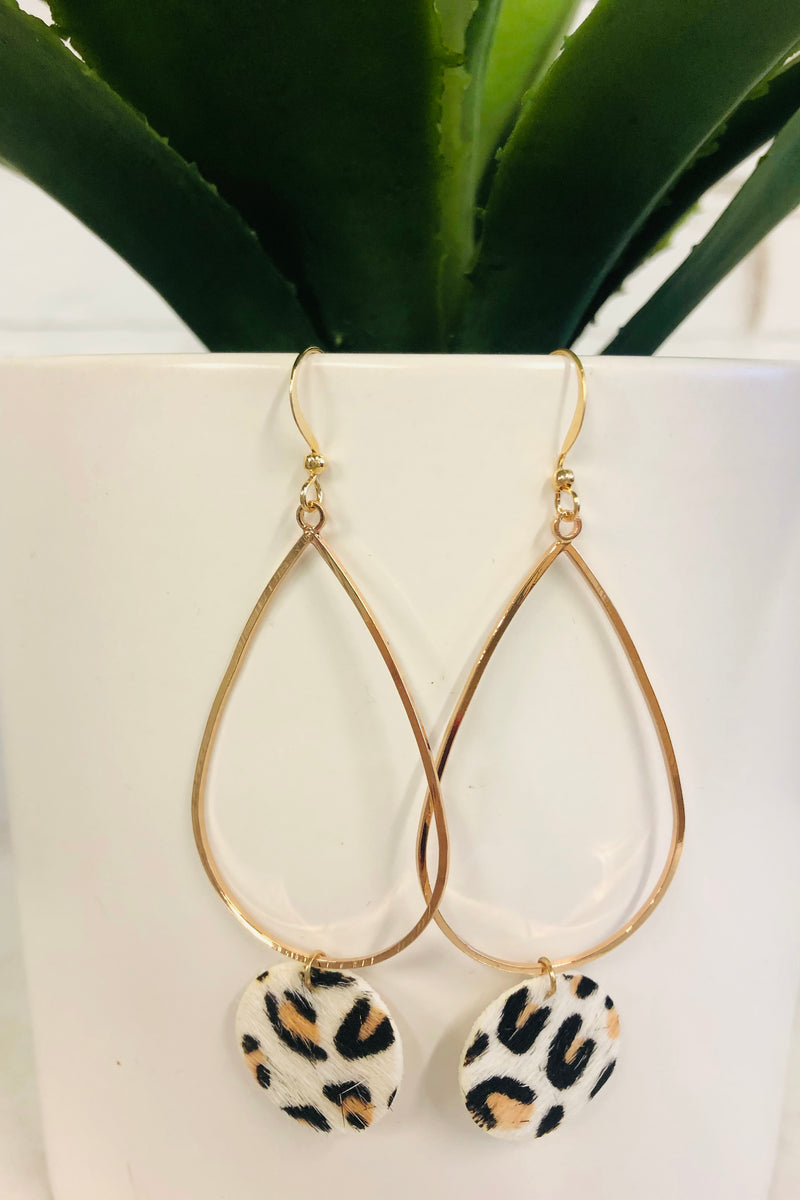 Glori Cheetah Print Drop Earring : White