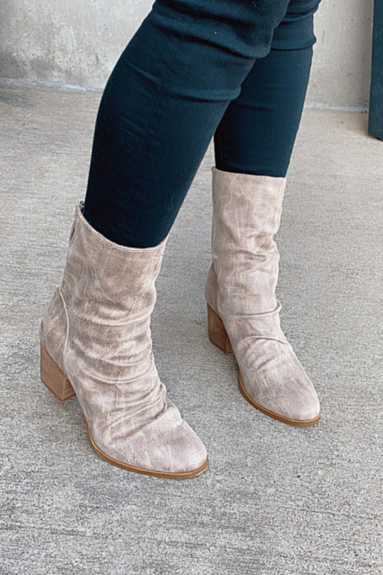 Very G Preston Mid Calf Bootie : Cream