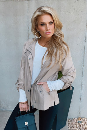 Night Out Zip Up Jacket : Taupe