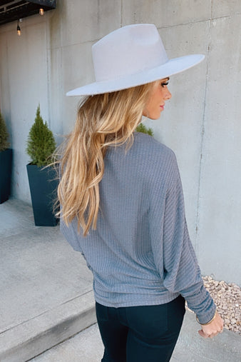 Love Of The Season Waffle Knit Top : Charcoal
