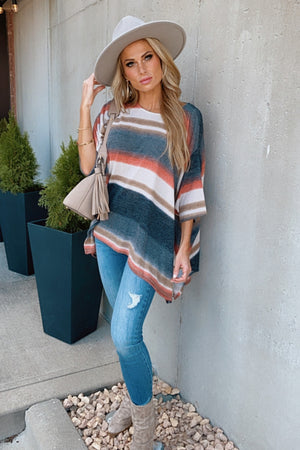 Beyond The Lines Poncho Style Top : Charcoal/Multi