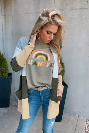 Thankful Rainbow Graphic Tee : Olive