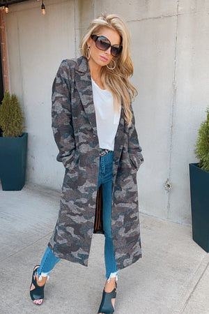 Let's Go Anywhere Button Up Long Coat : Dark Camo