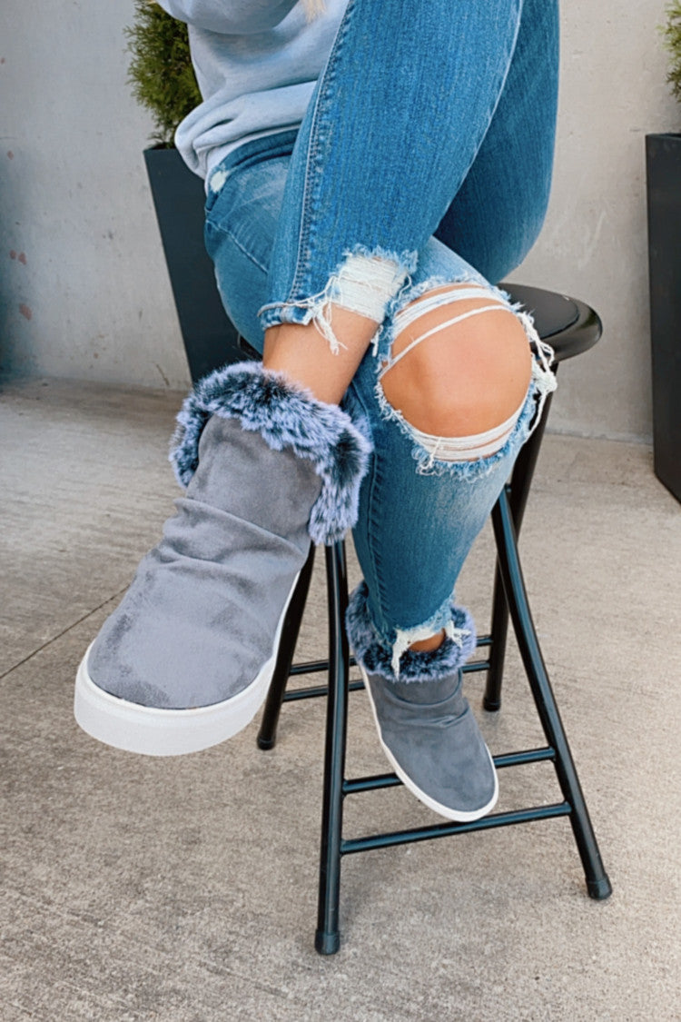 Very G Plush Slip On Bootie : Grey