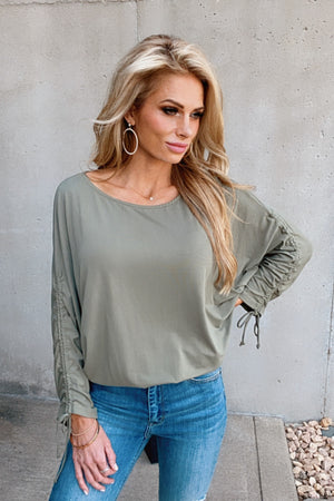 Better Than You Know Knit Sleeve Dolman Top : Olive