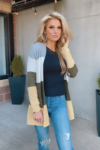 Don't Miss Me Color Block Cardigan : H. Grey/Olive