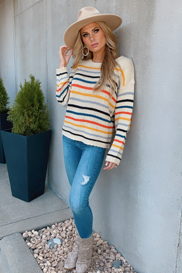 Forget Me Not Striped Knit Sweater : Beige/Multi
