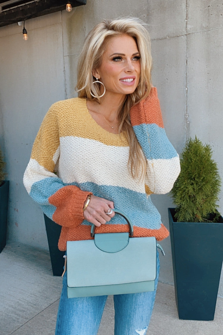Let's Talk Love Color Block Sweater : Multi