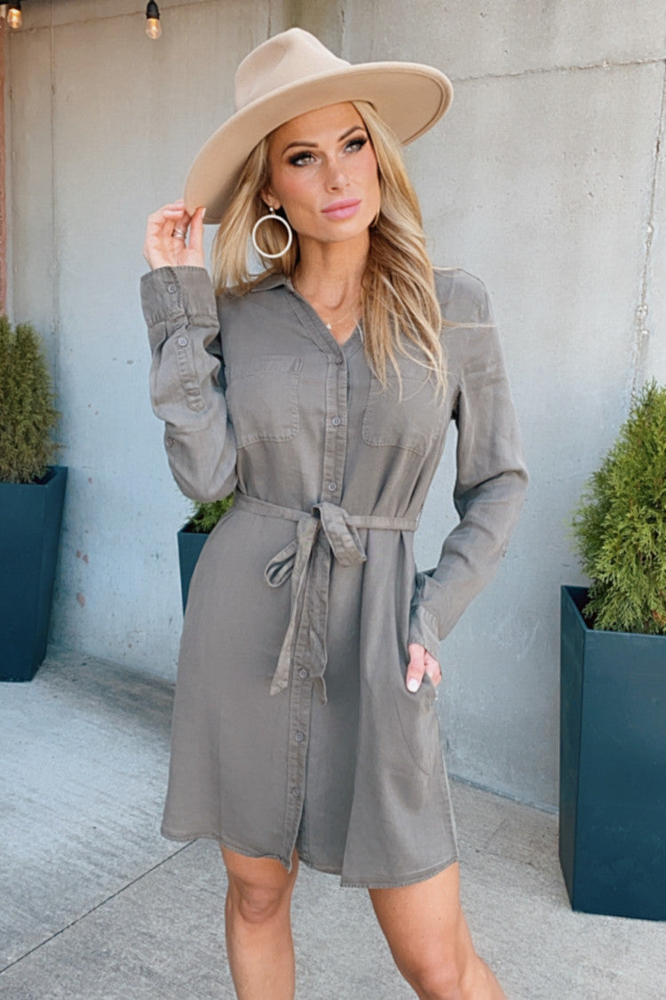 Carefree Love Long-Sleeve Shirt Dress : Olive