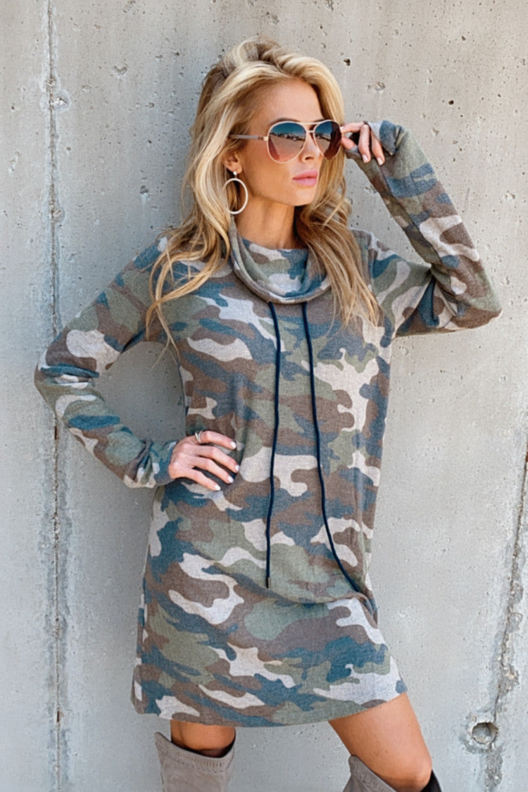 Nothing On You Camo Cowl Neck Dress : Olive/Brown