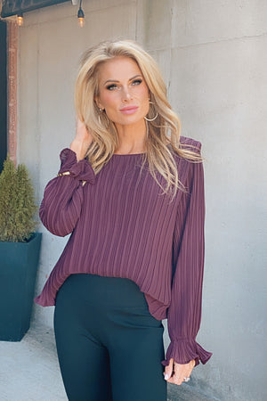 Stay With Me Long Sleeve Pleated Top : Plum