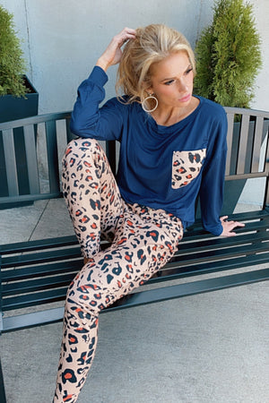 Comfy Evening Leopard Pajama Set : Navy/Black