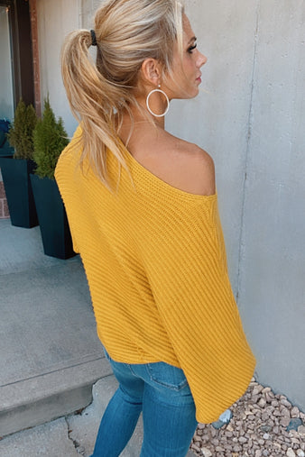 Make A Statement Dolman Ribbed Sweater : Mustard