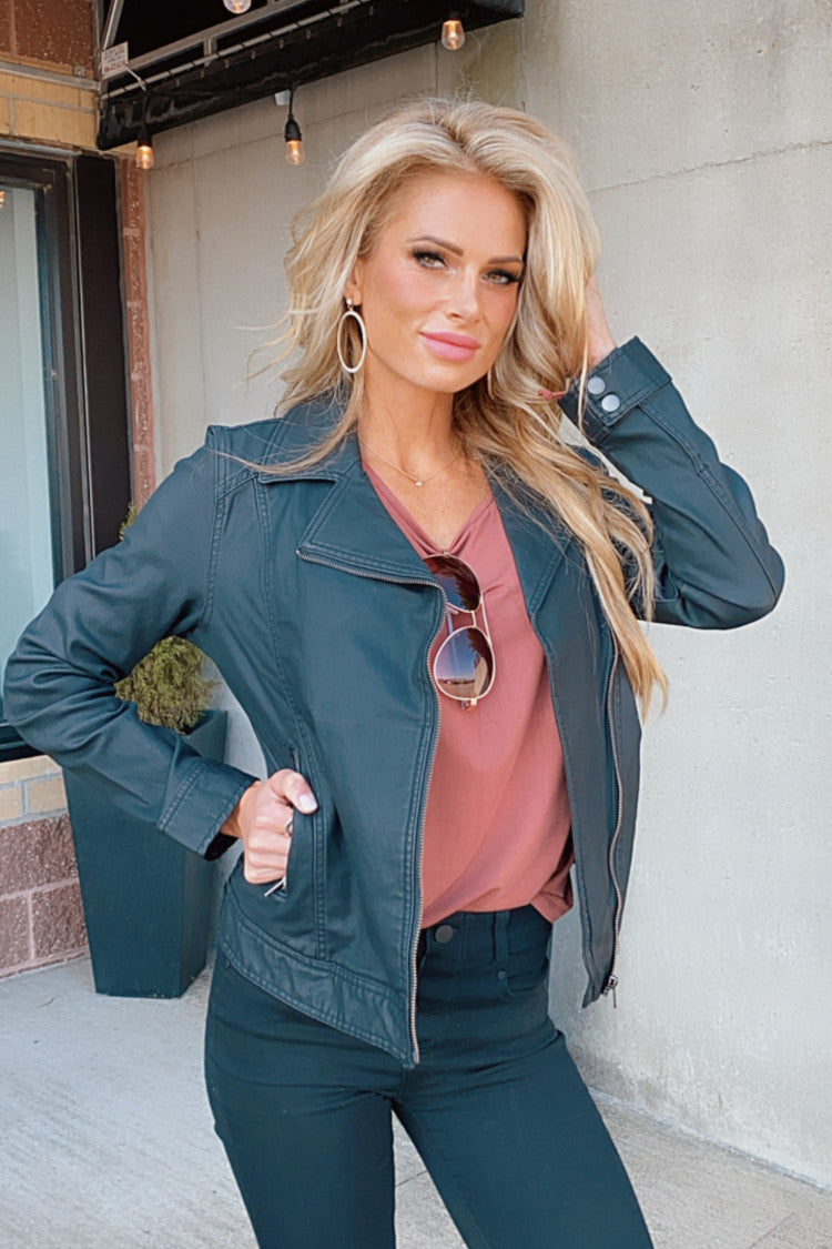 Downtown Love Liverpool Moto Jacket : Black