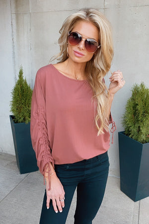 Better Than You Know Knit Sleeve Dolman Top : Brick