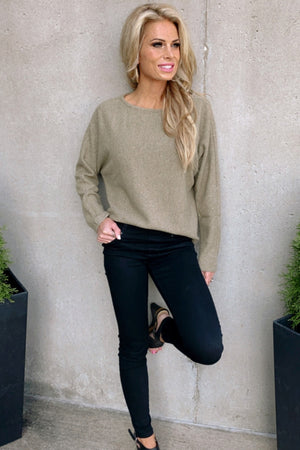 Hard To Forget Ribbed Knit Sweater : Olive