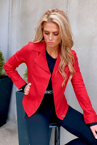 Downtown Love Liverpool Moto Jacket : Deep Red