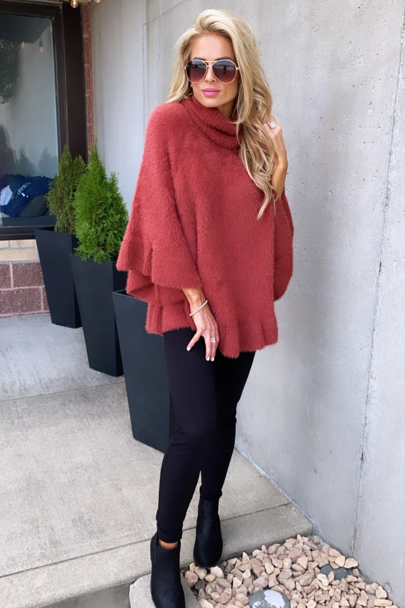 Fall Leaves Cowl Neck Dolman Poncho Sweater : Brick