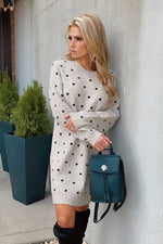 Falling For You Polka Dot Sweater Dress : Taupe/Black