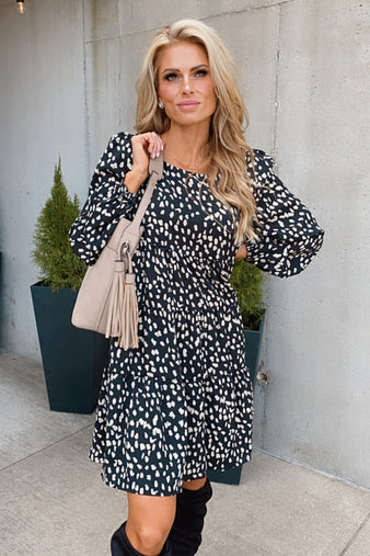 Autumn Feels Leopard Print Tiered Dress : Black