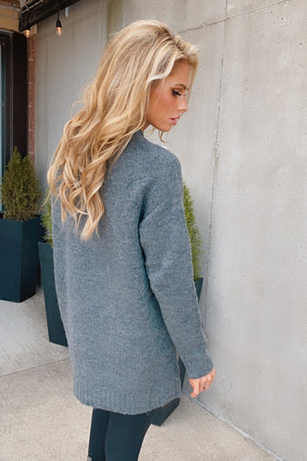 Stay Together V-Neck Tunic Sweater : Charcoal
