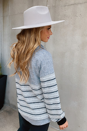 Always Cozy Cowl Neck Sweater : H. Grey/White