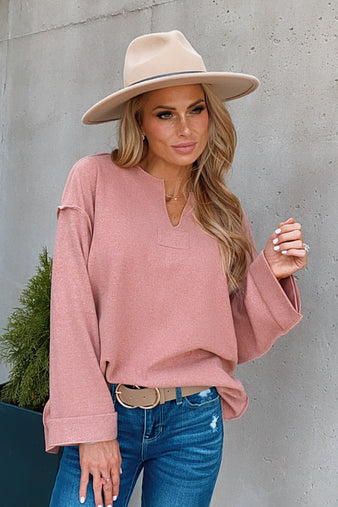 Always Flirty Pullover Top : Mauve