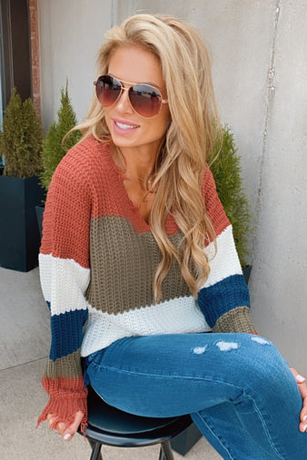 Autumn Leaves Distressed Color Block Sweater : Multi