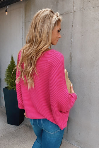 Make A Statement Dolman Ribbed Sweater : Hot Pink