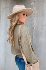 Here For A Lifetime Cable Knit Sweater : Olive