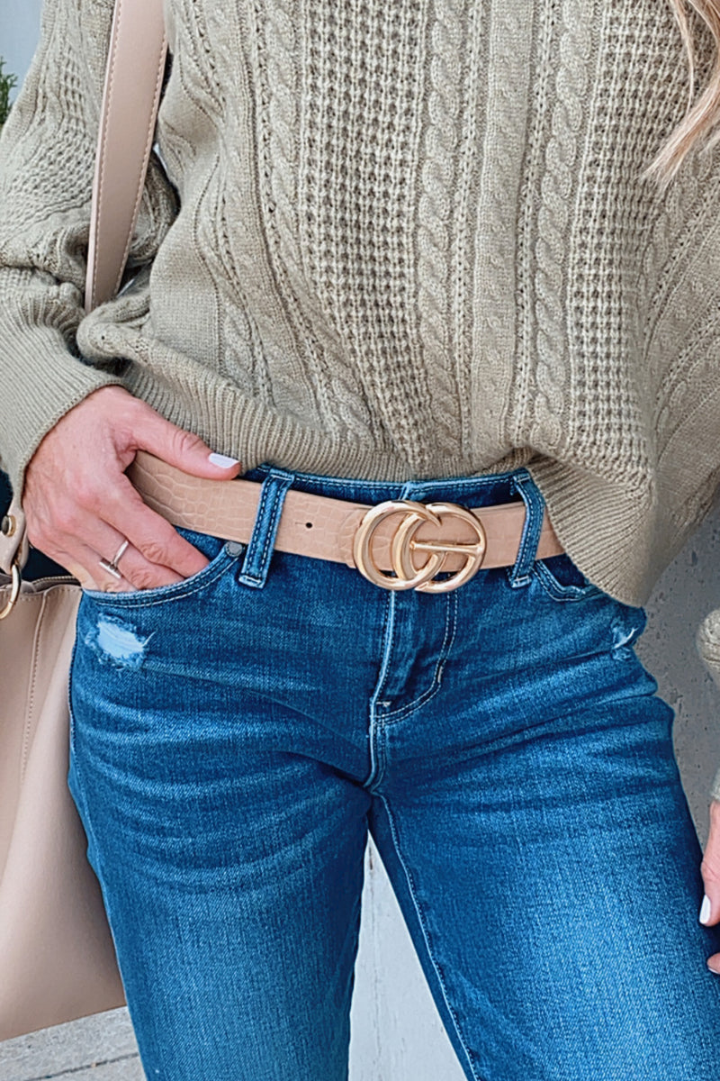 Close Up Ready Faux Leather Belt : Tan