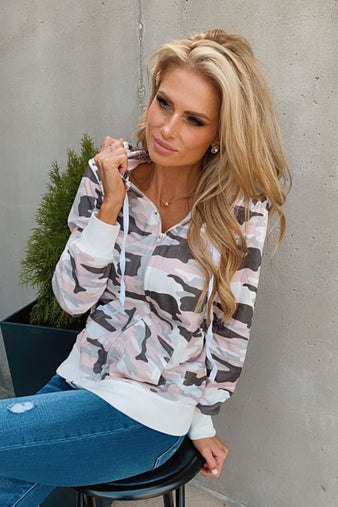 Out And About Camo Zip Up Hoodie : Pink