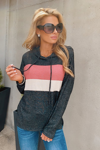 Going Everywhere Color Block Hoodie : Black/Pink