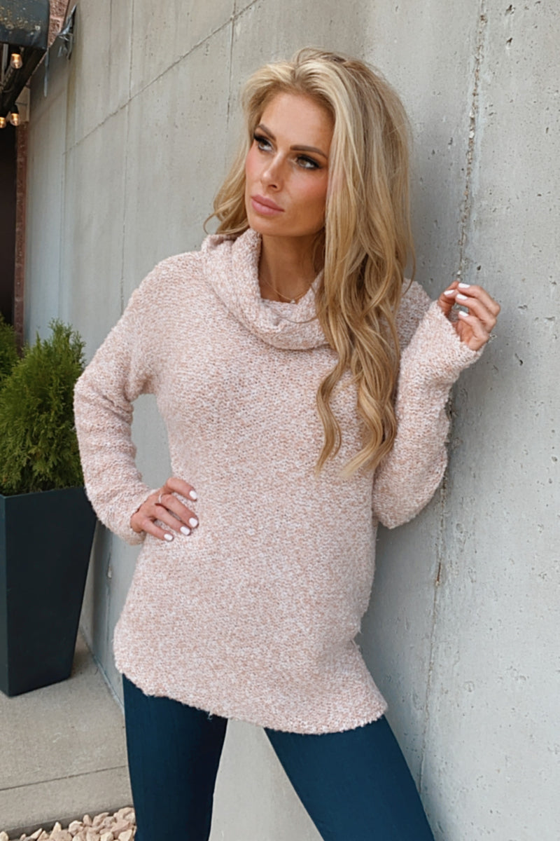 Date Night Cowl Neck Sweater : Blush