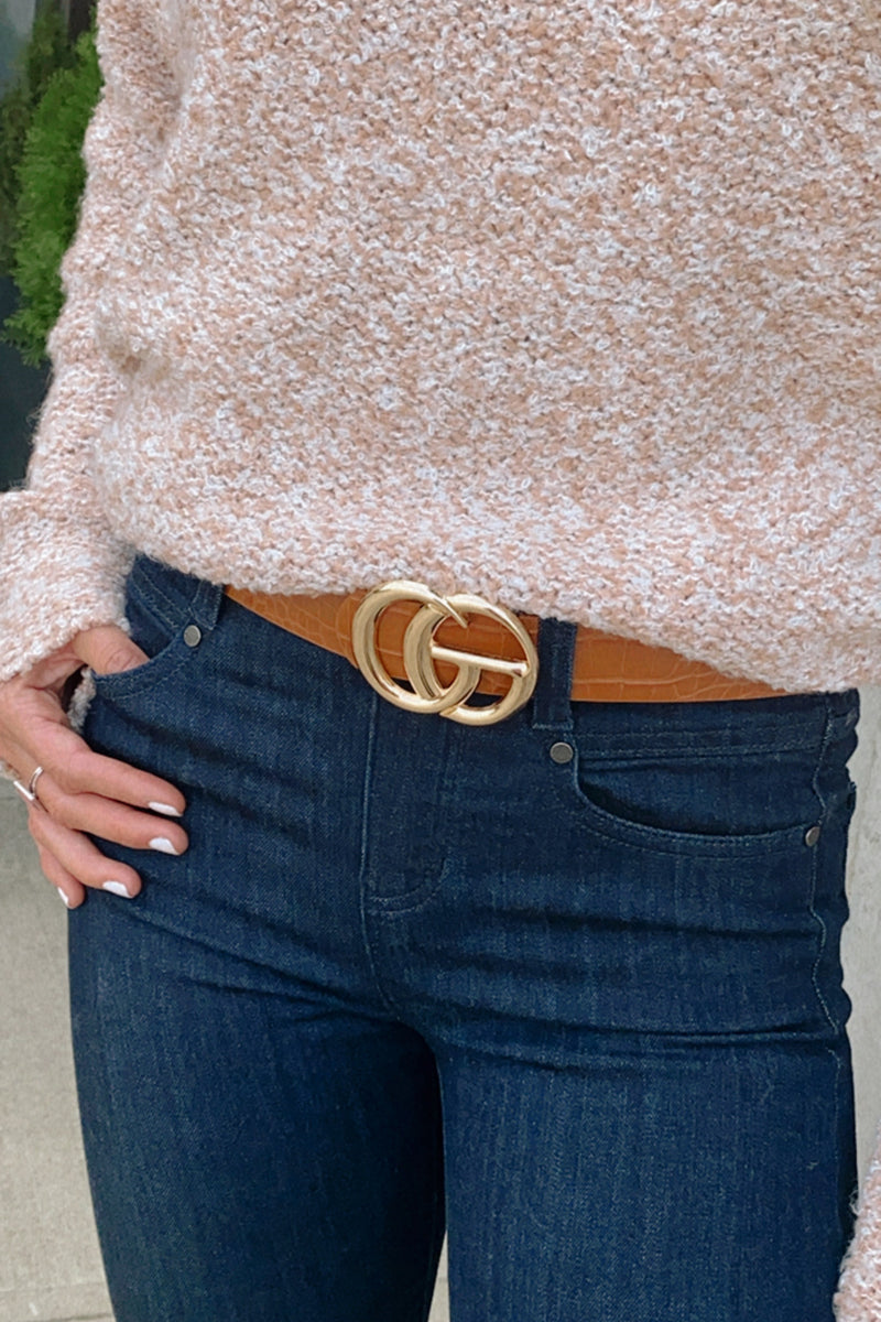 Close Up Ready Faux Leather Belt : Cognac