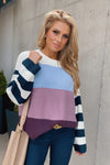 Love You Forever Color Block Sweater : Eggplant