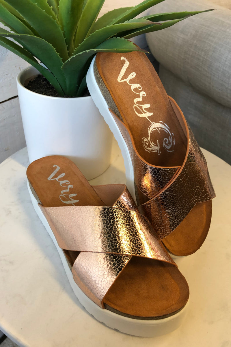 Elena Slide Sandals : Rose Gold