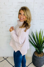 Curl Up With You Cowl Neck Sweater : Misty Pink
