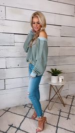 State Of Style Waffle Knit V-Neck Sweater : Sage