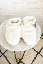 Plush Faux Fur Slipper Bootie : Ivory