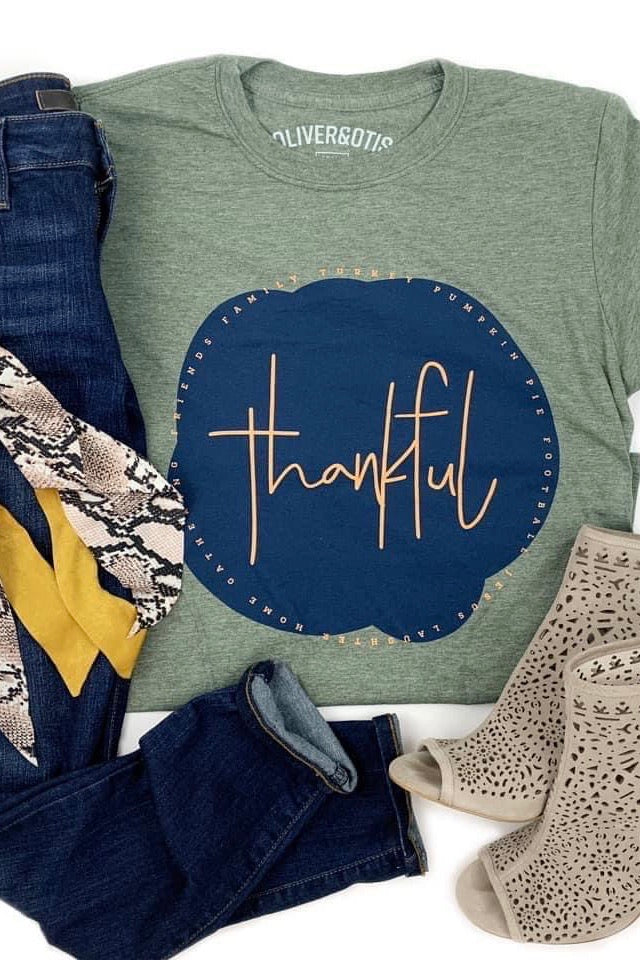 Thankful Graphic Tee : Heathered Green