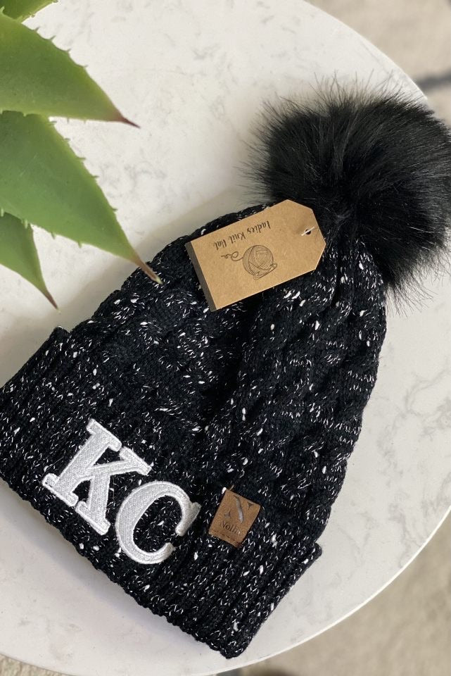 KC Nollia Knit Beanie With Pom : Black