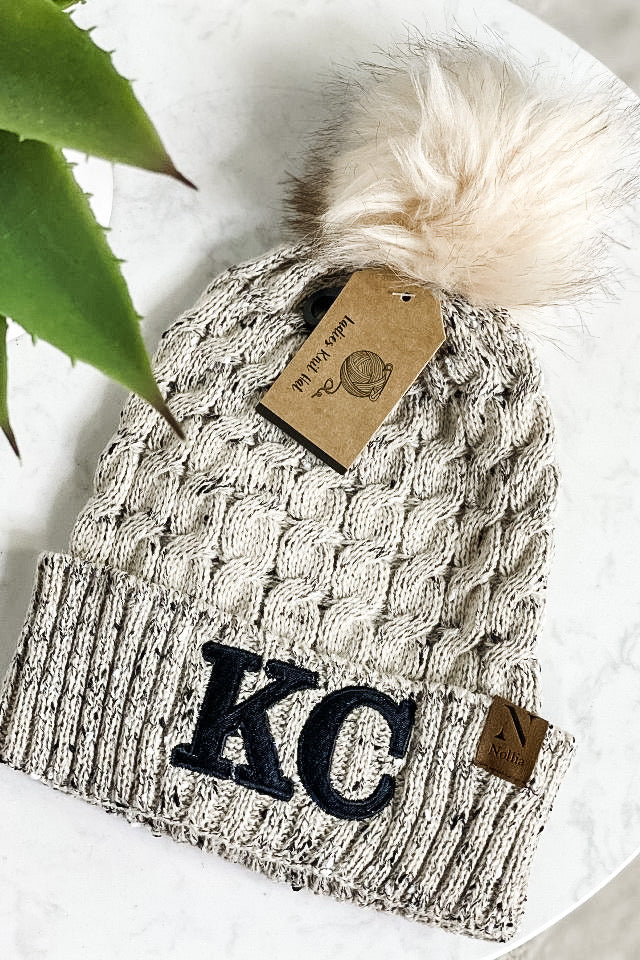 KC Nollia Knit Beanie With Pom : Beige