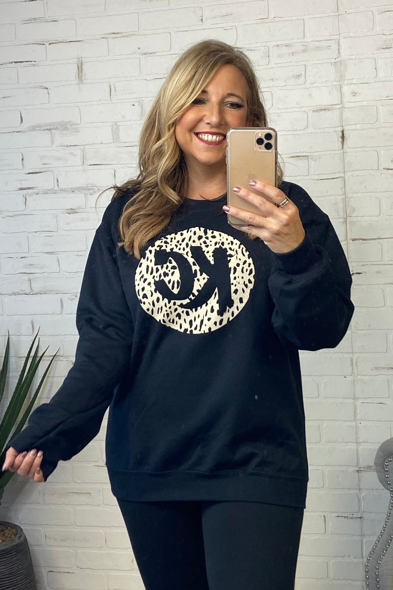 KC Leopard Crew Neck Sweatshirt : Black