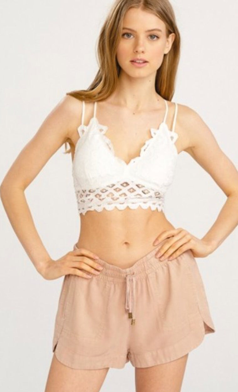* Lace And Luxury Padded Bralette: White