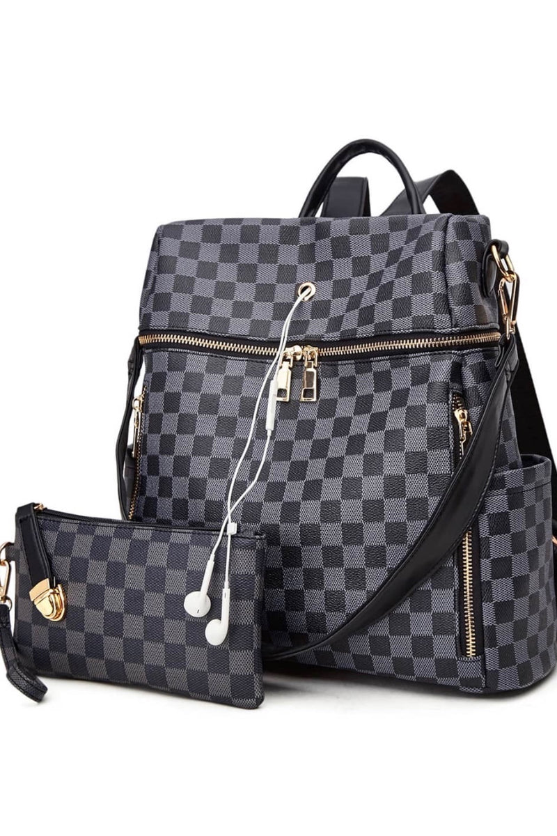 Timeless Style Plaid Zip Up Backpack & Wristlet : Grey/Black
